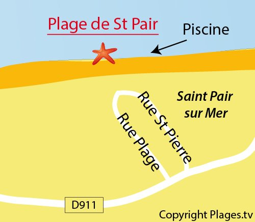 Map of Central beach in St Pair sur Mer
