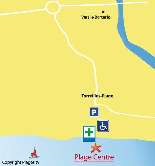 Mappa della Spiaggia del Centro di Torreilles