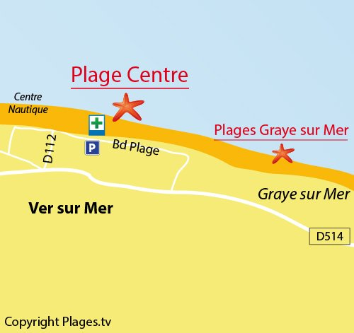 Map of Center beach in Ver sur Mer