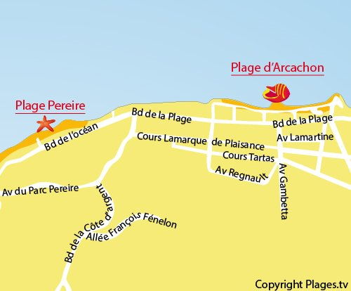 Map of Central Beach in Arcachon