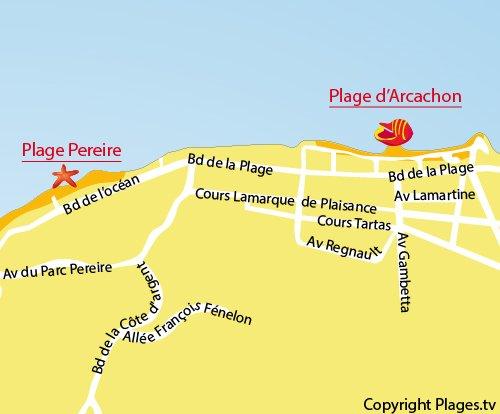 Plan de la plage du centre ville d'Arcachon