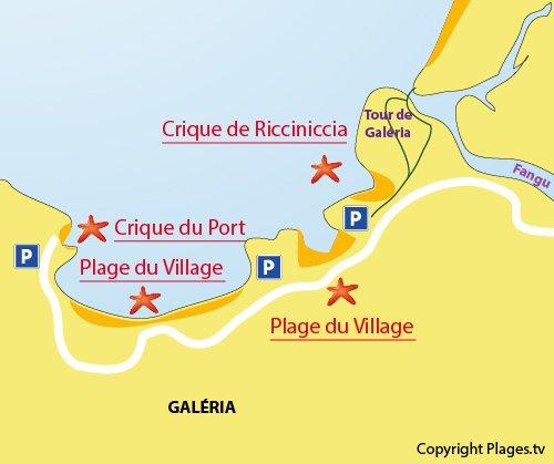 Plan de la plage du centre ville de Galéria