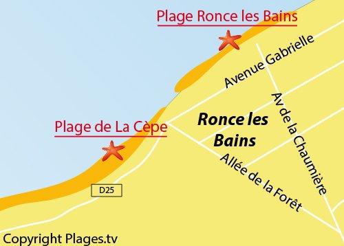 Carte de la plage de la Cèpe - Ronce les Bains - La Tremblade