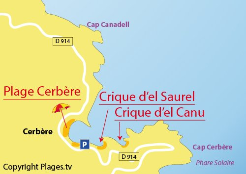 Map of Cerbere Beach in France