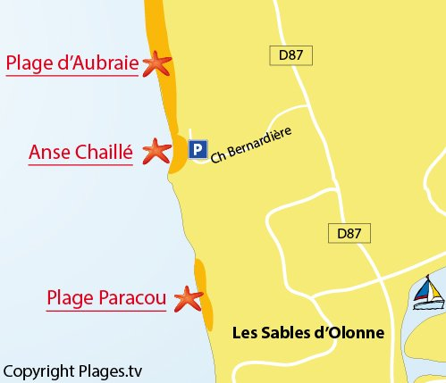 Map of the cove of Chaillé in Les Sables d'Olonne