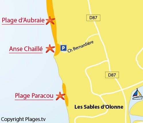 Carte de la plage dans l'anse de Chaillé aux Sables d'Olonne