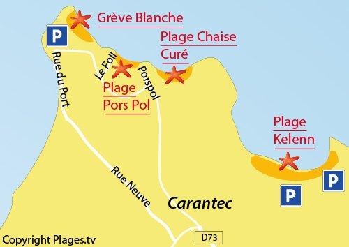 Map of Chaise du Curé Beach in Carantec