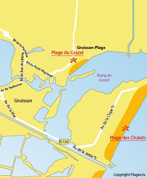 Plan de la plage des Chalets à Gruissan