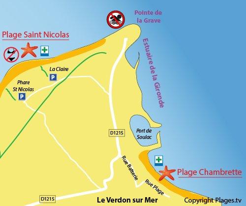 Plan de la plage de la Chambrette au Verdon sur Mer