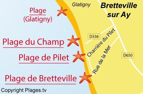 Carte de la plage du Champ à Bretteville sur Ay dans la Manche