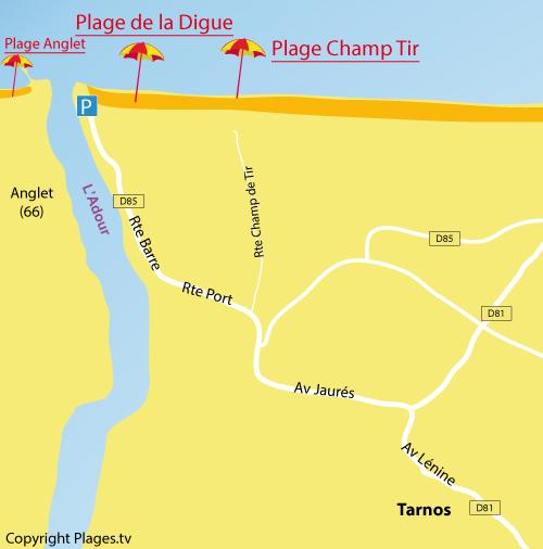 Carte de la plage du Champ de Tir à Tarnos