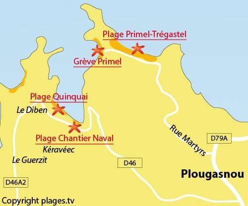 Carte de la plage du Chantier Naval à Plougasnou