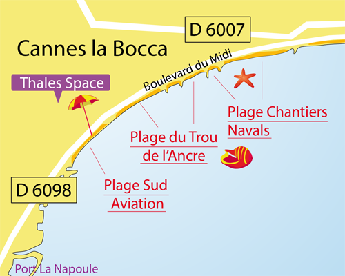 Map of Chantiers Navals Beach in Cannes la Bocca