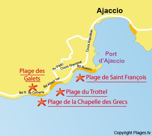 Map of Beach of the Chapel of the Greeks in Ajaccio