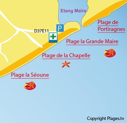 Plan de la plage de la Chapelle à Sérignan
