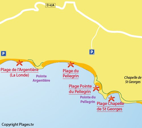 Map of the Chapelle Saint-Georges Beach in Bormes les Mimosas