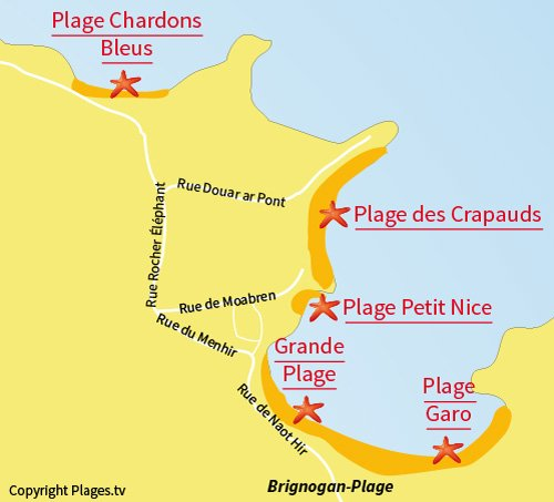 Map of Chardons Bleus Beach in Brignogan