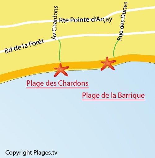 Plan de la plage des Chardons à La Faute sur Mer