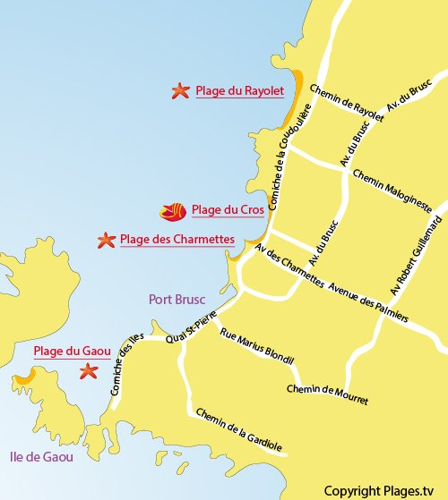 Map of Charmettes Beach in Six Fours les Plages