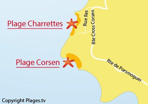 Carte de la plage des Charrettes à Plouarzel