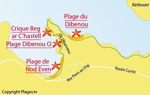Carte de la plage de Beg ar Chastell à Guissény