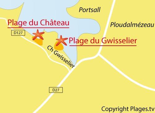 Carte de la plage du Chateau à Landunvez
