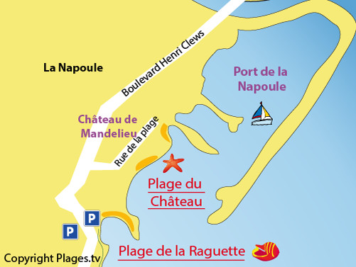 Map of Château Beach in Mandelieu