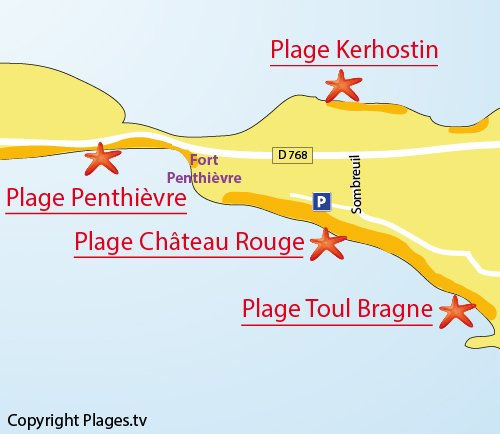 Map of chateau rouge beach in St Pierre de Quiberon