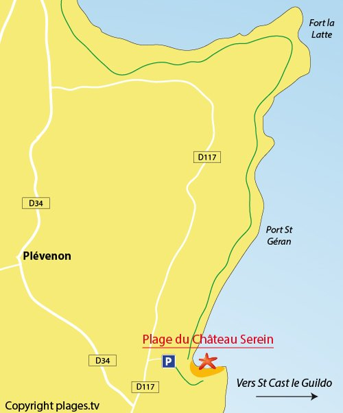 Plan de la plage de Chateau Serein à Plévenon - Cap Fréhel