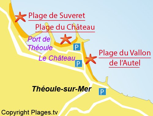 Map of Chateau beach in Théoule sur Mer