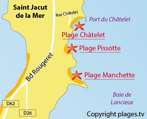 Carte de la plage du Chatelet à St Jacut