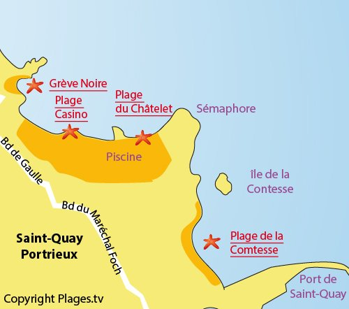 Map of Chatelet Beach in St Quay Portrieux