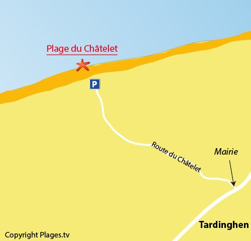 Map of Chatelet Beach in Tardinghen