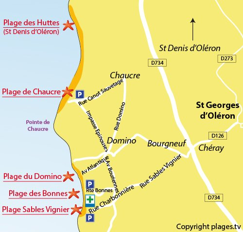 Map of Chaucre Beach in Oleron island