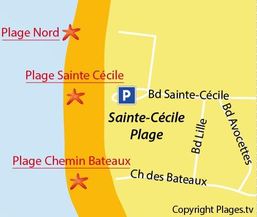 Carte de la plage du chemin des Bateaux à Sainte Cécile