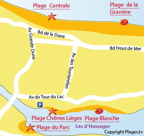 Carte de la plage des Chênes Lièges - Lac Hossegor