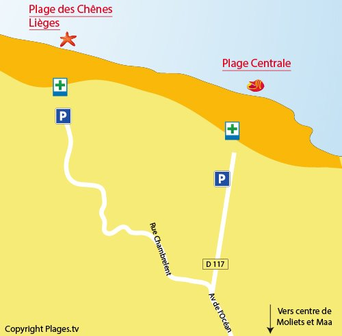 Map of Beach of Chênes Lieges in Moliets et Maa