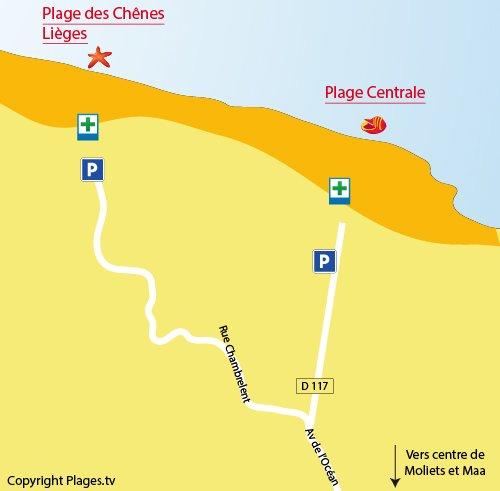 Mappa della Spiaggia Chênes Lièges a Moliets et Maa