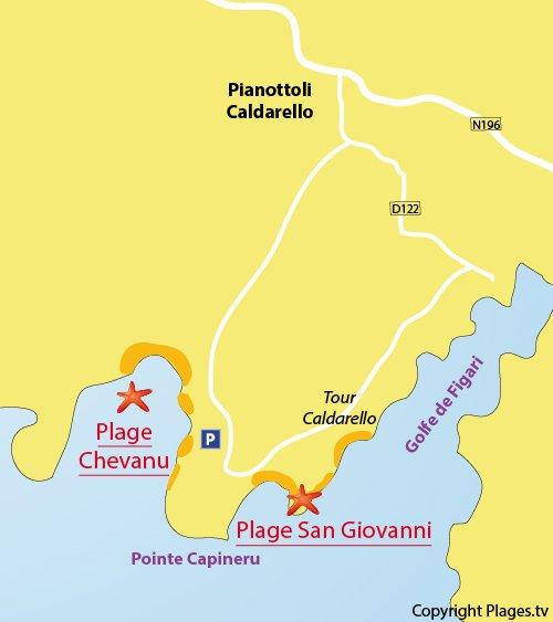 Carte de la plage de Chevanu en Corse