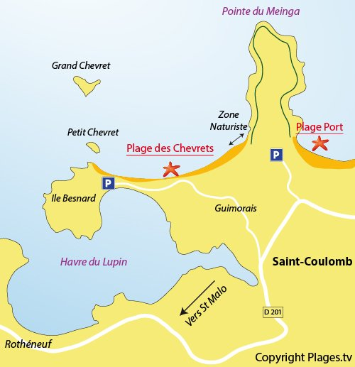 Map of the Chevrets Beach in Saint Coulomb