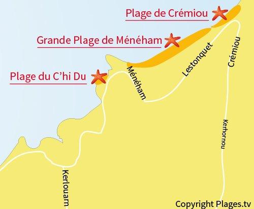Carte de la plage du Chi Du à Ménéham
