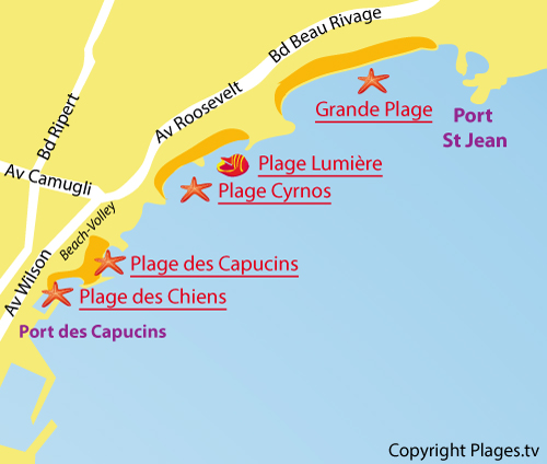 Map of the Beach for Dogs in La Ciotat
