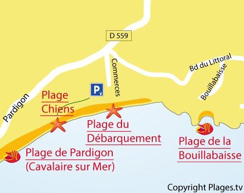 Carte de la plage des Chiens à La Croix Valmer