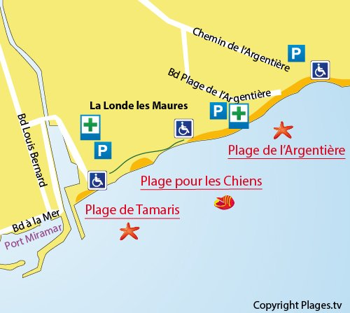Map of Dogs Beach in La Londe les Maures