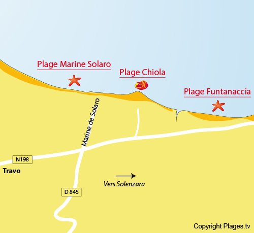 Carte de la plage de Chiola à Solaro