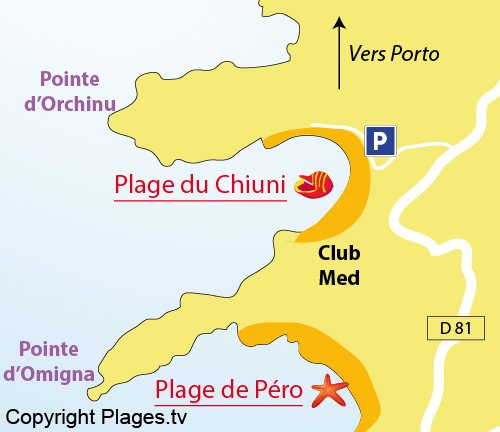 Map of Chiuni Beach in Cargèse