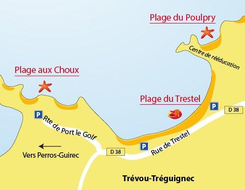 Carte de la plage aux choux de Trévou Tréguignec (22)