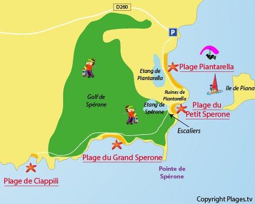 Carte de la plage de Ciappili à Bonifacio