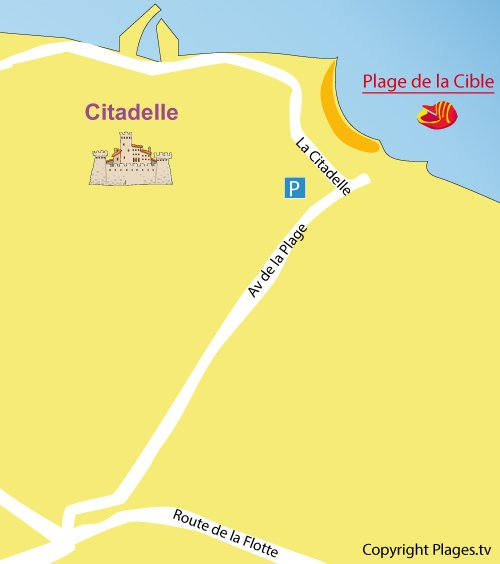Map of Cible Beach in St Martin de Ré in France