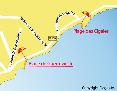 Map of Cigales Beach in Port Grimaud in France